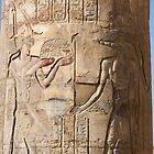 Egypt - Kom Ombo - Pillar with original paint on Sobek in 2008 by renprovo