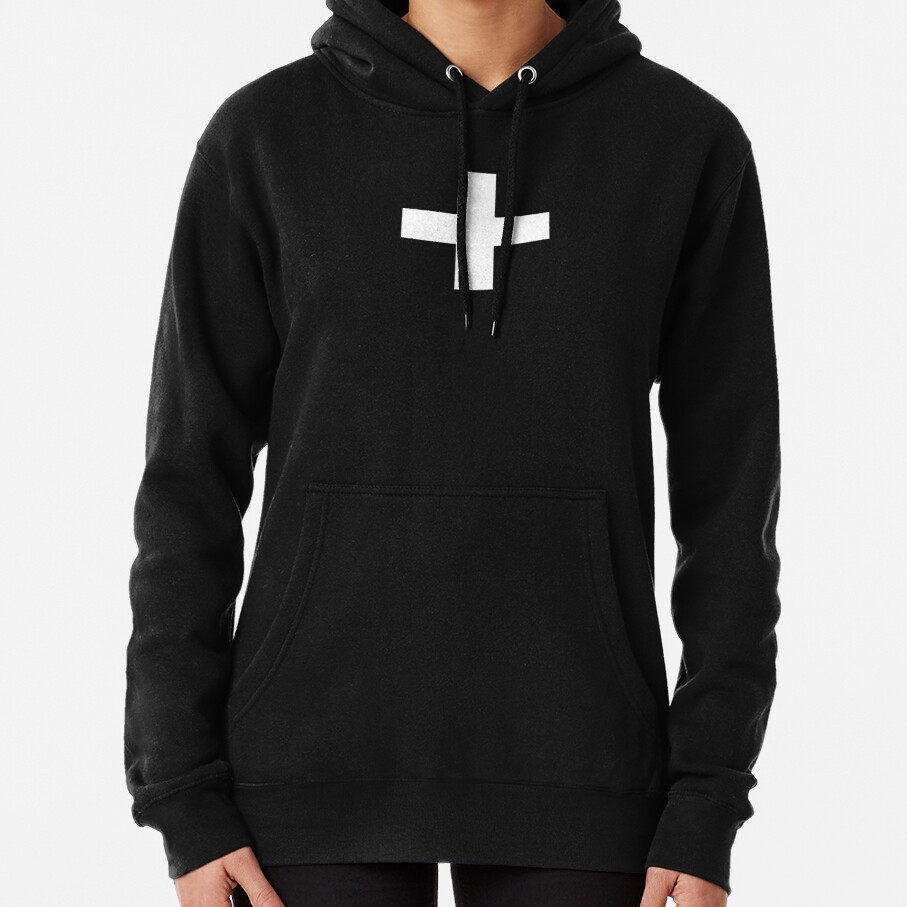Crosses | Criss Cross | Swiss Cross | Hygge | Scandi | Plus Sign | Black and White |  Pullover Hoodie