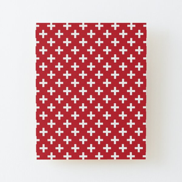 Crosses   Criss Cross   Swiss Cross   Hygge   Scandi   Plus Sign   Red and White    Wood Mounted Print