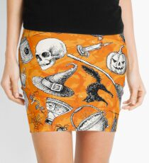 Vintage Hand Drawn Halloween Mini Skirt