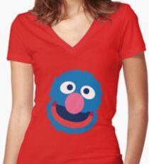 Grover head geek funny nerd Women's Fitted V-Neck T-Shirt