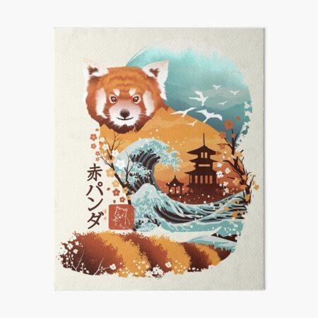 Ukiyo e Red Panda Art Board Print