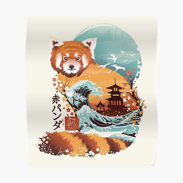 Ukiyo e Red Panda Poster