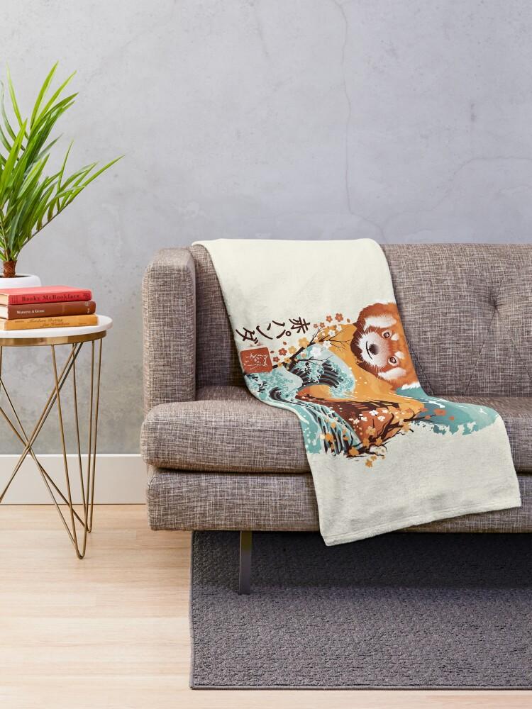 Alternate view of Ukiyo e Red Panda Throw Blanket