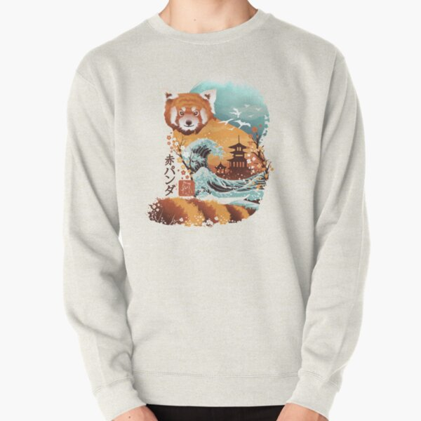 Ukiyo e Red Panda Pullover Sweatshirt