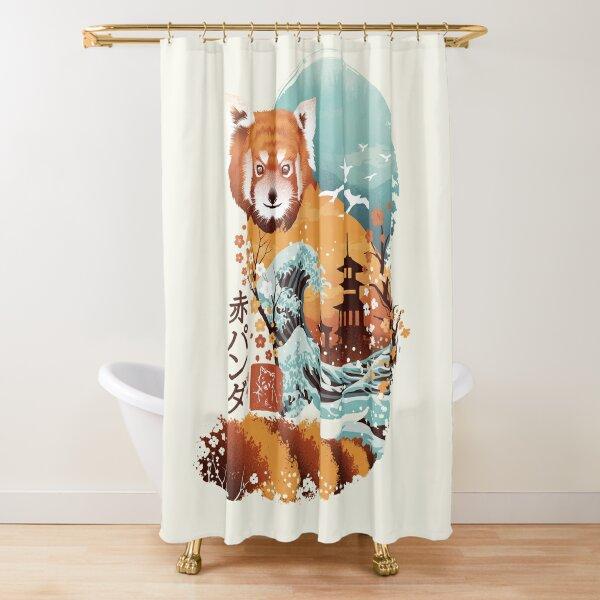 Ukiyo e Red Panda Shower Curtain