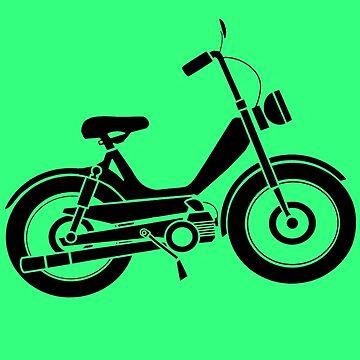 Moped bike cycle Fun geek funny nerd by antoharjo