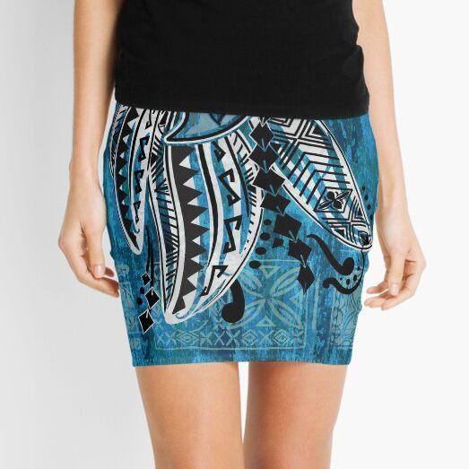 Hawaiian decor - Polynesian Design- Blue Tribal Ocean Spray Mini Skirt