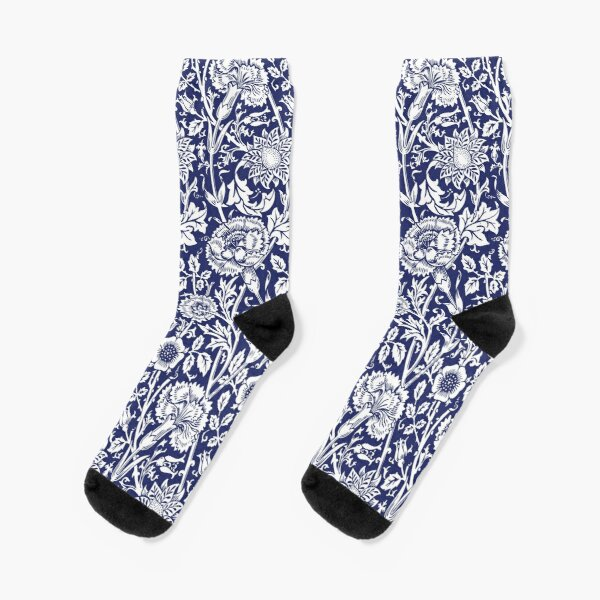 William Morris Carnations | Navy Blue and White Floral Pattern | Flower Patterns | Vintage Patterns | Classic Patterns | Socks