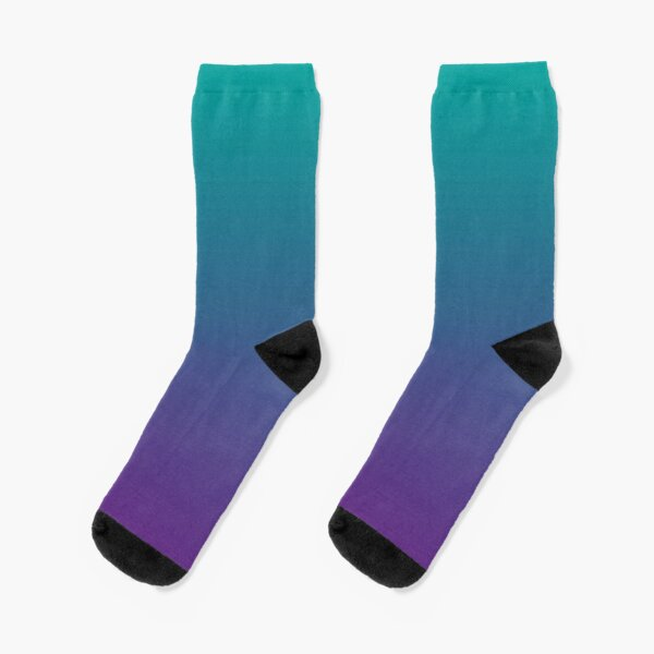 Ombre | Gradient Colors | Teal and Purple |  Socks