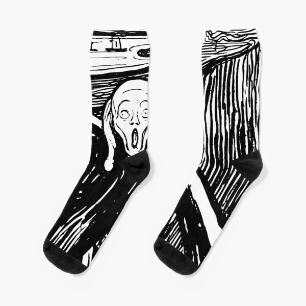 The Scream Edvard Munch 1893 Original lithography black and white engraving HD HIGH QUALITY ONLINE STORE Socks