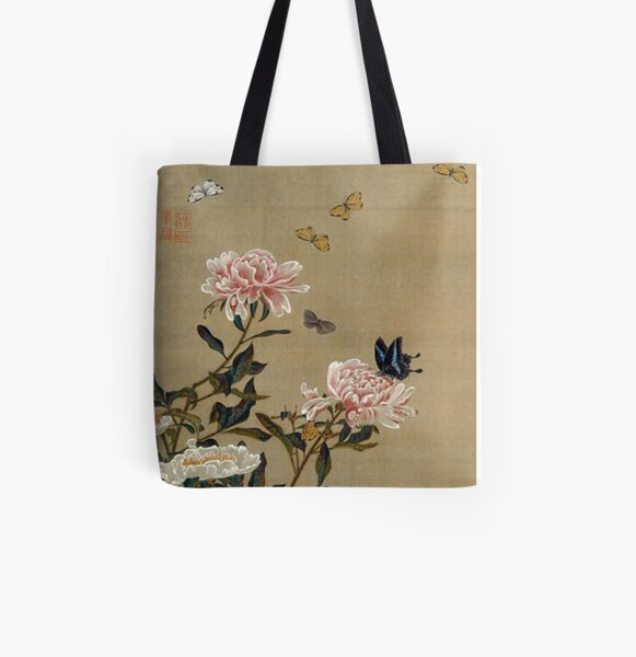 Favourite Artists - Peonies & Butterflies - Jakuchū Ito All Over Print Tote Bag