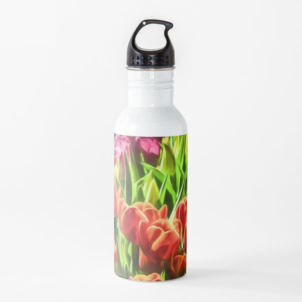 Coloured Tulips   (digital painting) Water Bottle