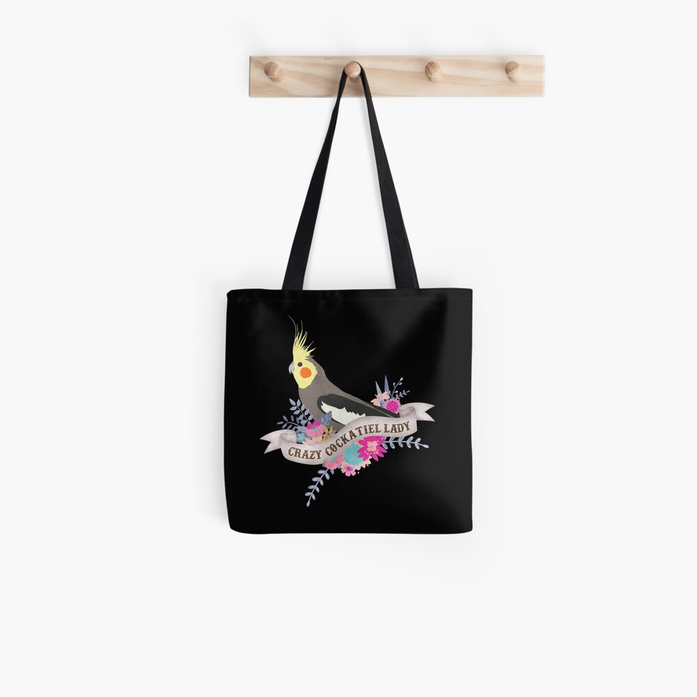 TB396 Beware Crazy Cockatiel Lady Novelty Present Gift Printed Eco-Friendly Stylish Long Handled Tote Shoulder Bag