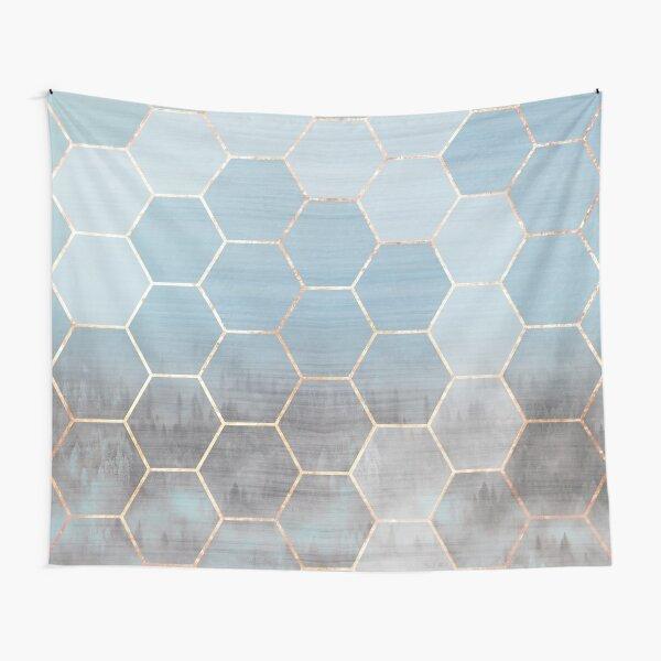 honeycomb winter scenery // blue & golden Tapestry