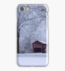 Snow Adorns The John Burrows Covered Bridge iPhone Case/Skin