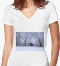 Snow Adorns The John Burrows Covered Bridge Women's Fitted V-Neck T-Shirt