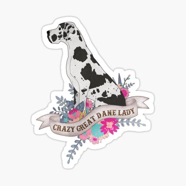 Crazy Great Dane Lady  Sticker
