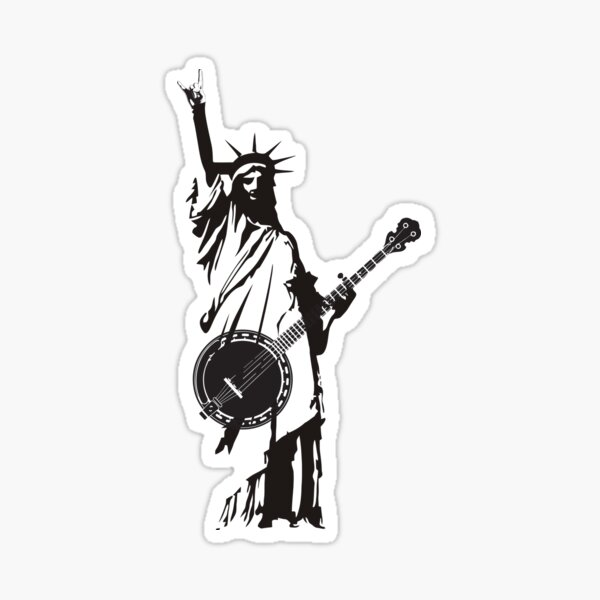 Vintage Banjo Bluegrass Playing Patriotic USA American Sticker