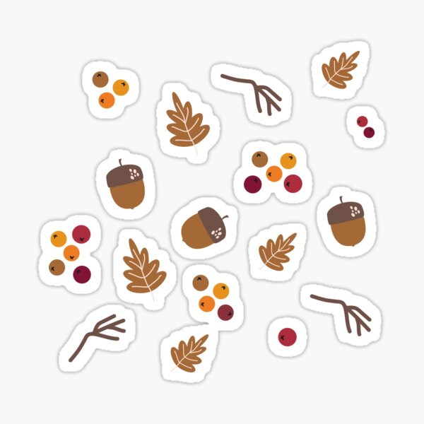 Autumn Vibes Pattern: acorn, leaf, stick, rowanberry Sticker