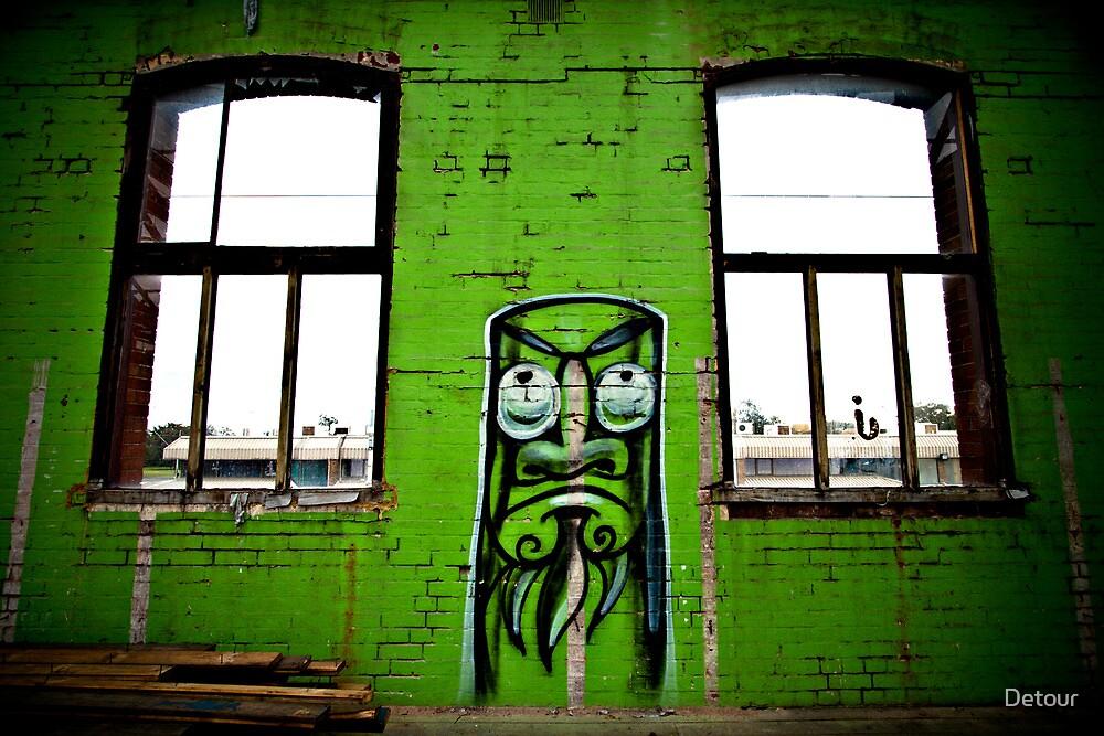Green - graffiti street art in Adelaide by Detour