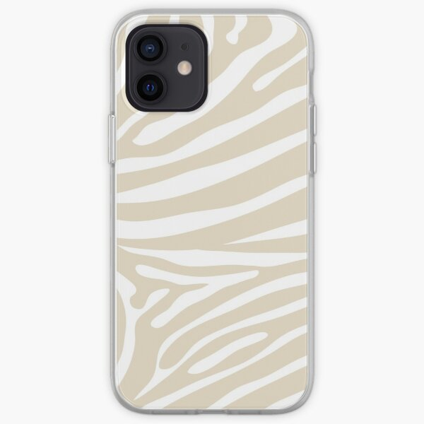 White and Nude Zebra Print iPhone Soft Case