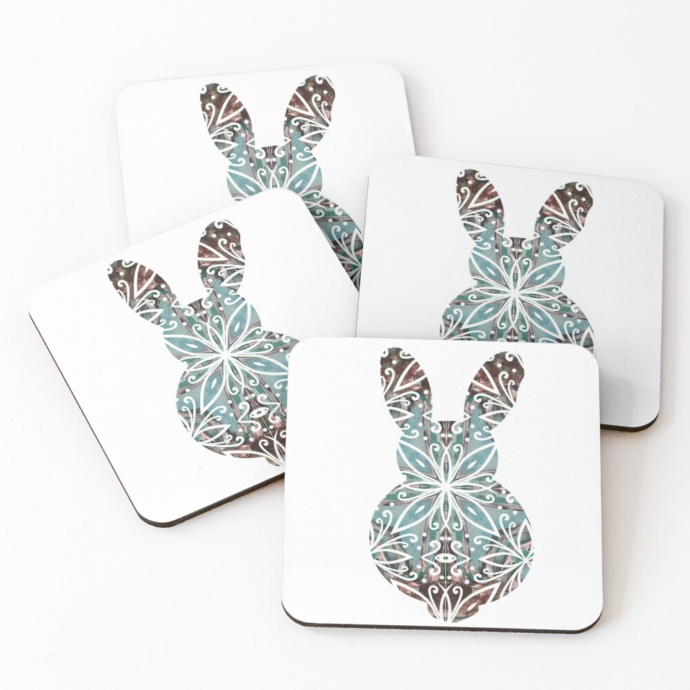 Mandala Rabbit Chocolate and Tuquoise Coasters (Set of 4)