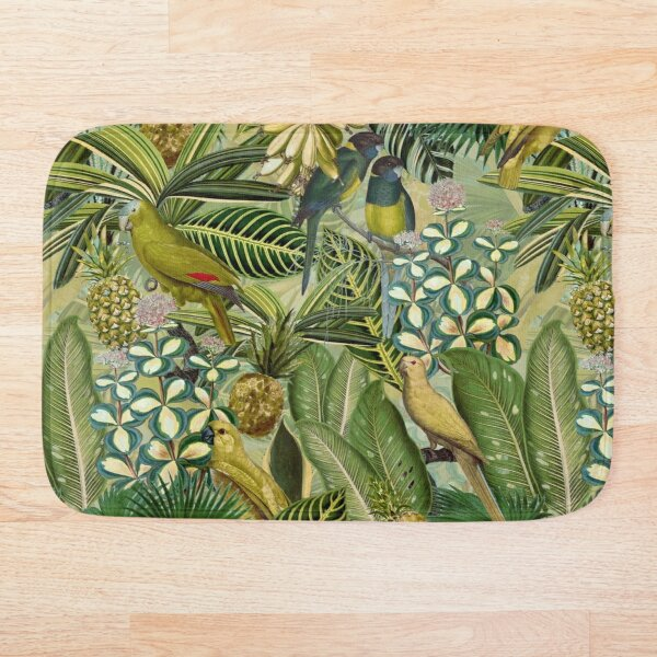 Vintage Green Tropical Bird Jungle Garden Bath Mat