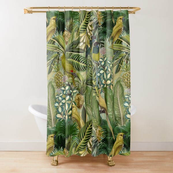 Vintage Green Tropical Bird Jungle Garden Shower Curtain