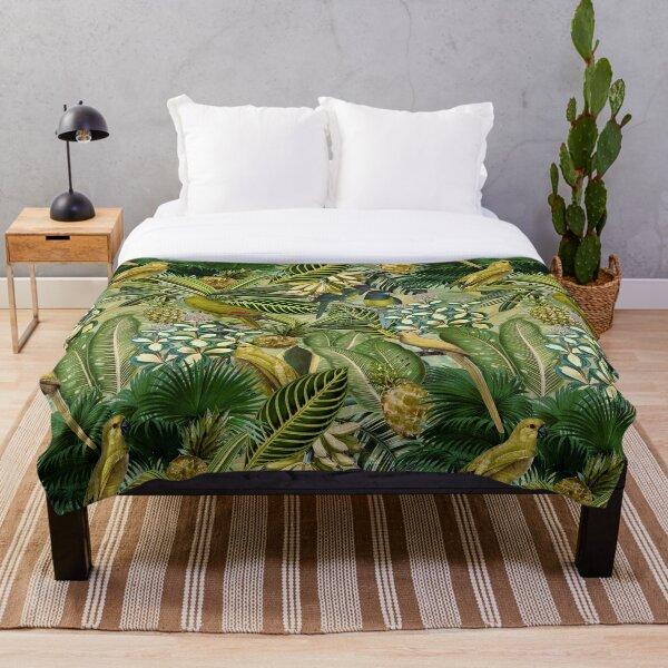 Vintage Green Tropical Bird Jungle Garden Throw Blanket