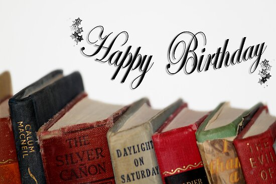 happy birthday books Happy Birthday (older) card   Old fashioned Books Posters by  happy birthday books