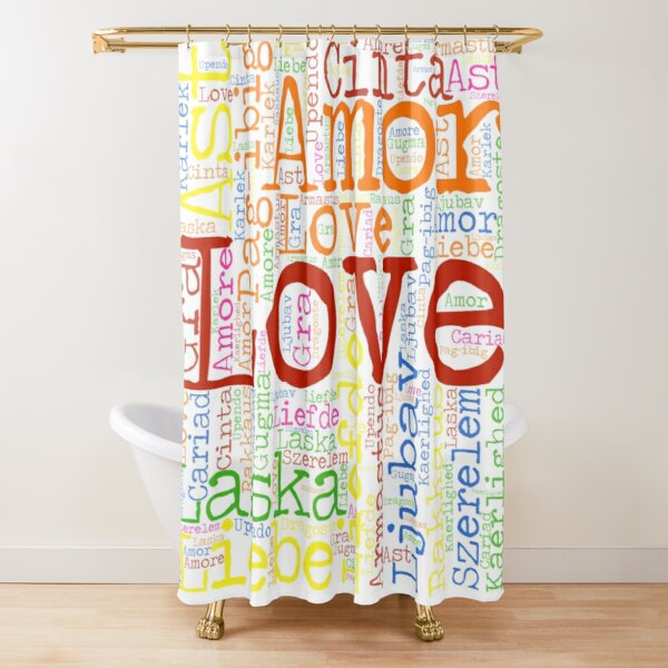 rainbow colorful word love in different language word cloud Shower Curtain