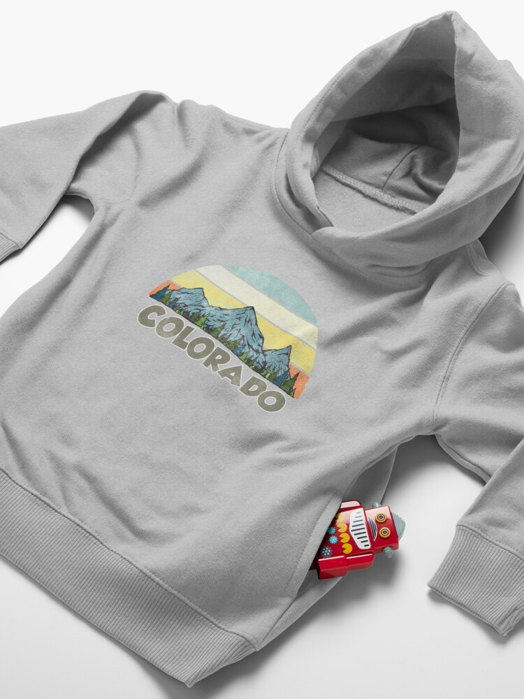Alternate view of Vintage Colorado Rocky Mountains Retro Sunset Toddler Pullover Hoodie