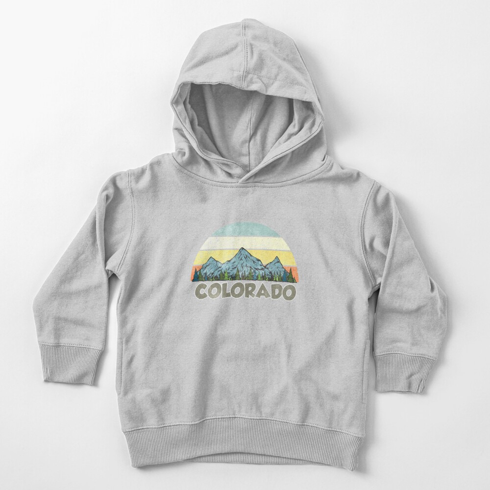 Vintage Colorado Rocky Mountains Retro Sunset Toddler Pullover Hoodie