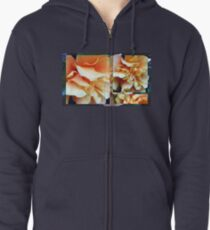 Collage with Double Orange Hibiscus Zipped Hoodie