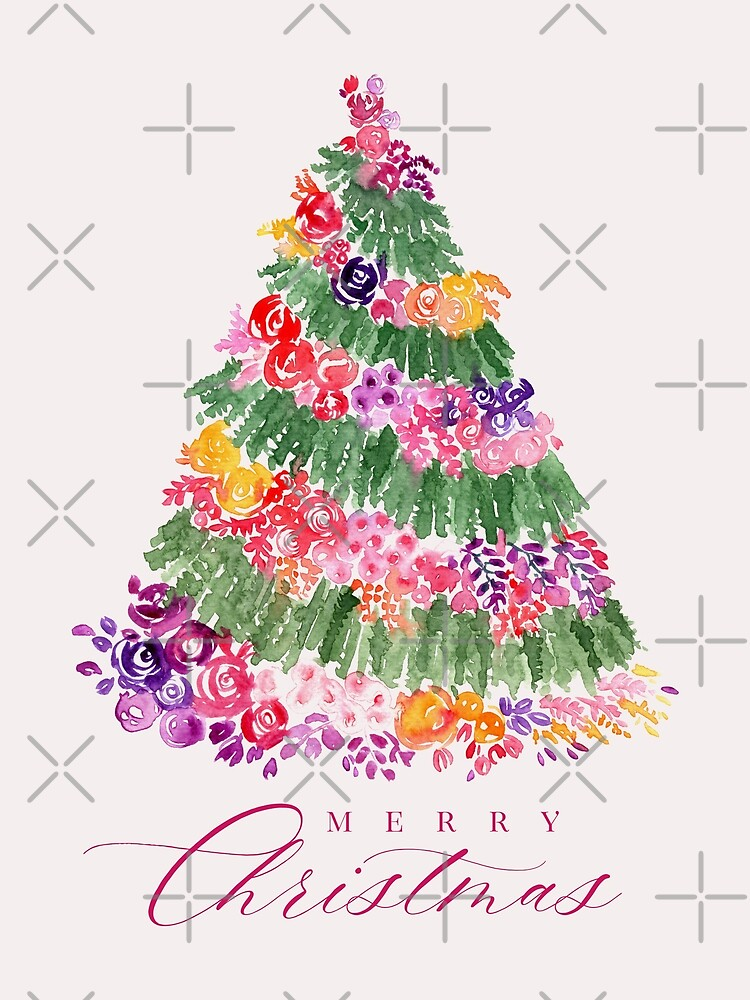 Floral Christmas tree in pink by blursbyai