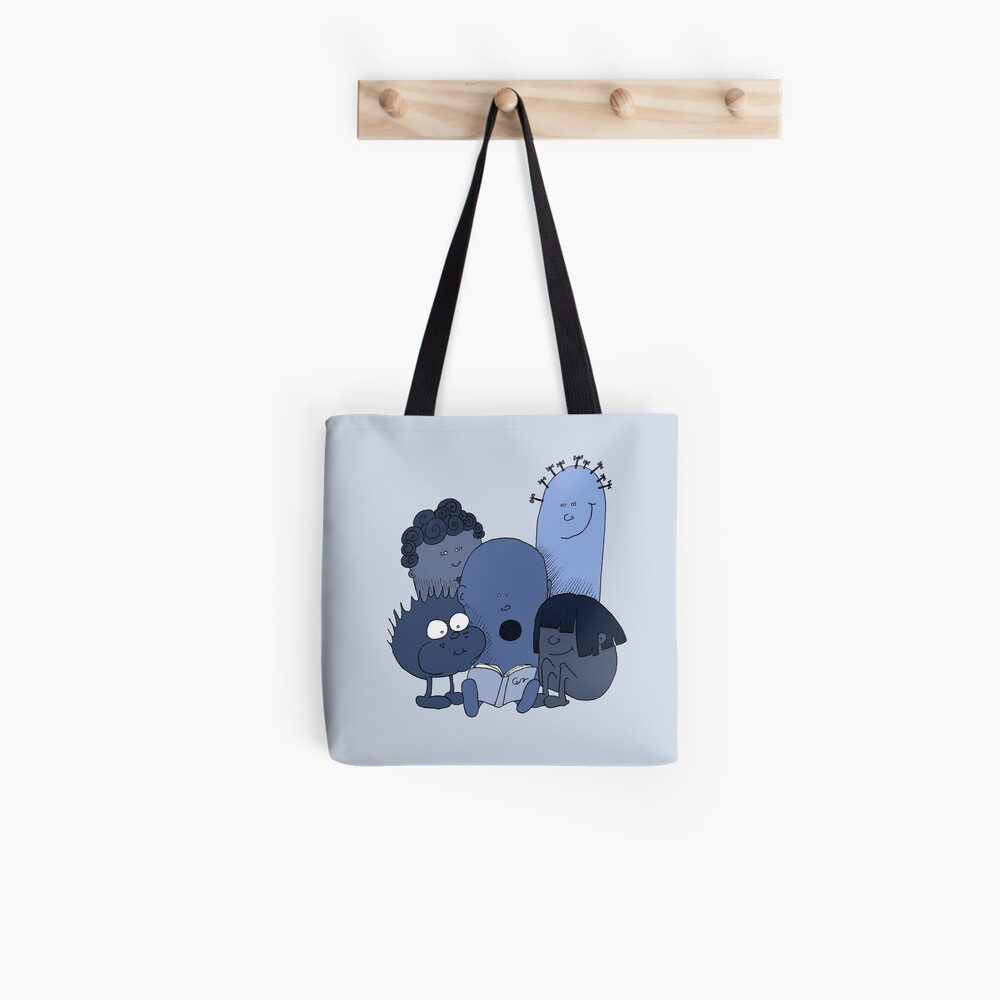 Blue beans reading Tote Bag