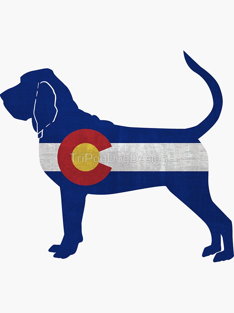Bloodhound Dog Breed Silhouette Filled with Colorado Flag by TriPodDogDesign