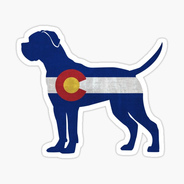 Cane Corso Dog Breed Silhouette Filled with Colorado Flag Sticker