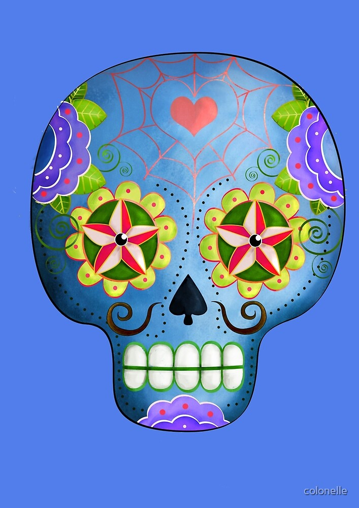 Blue Mexican Sugar Skull by colonelle