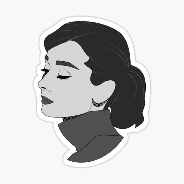 Audrey Comic Black and White Sticker