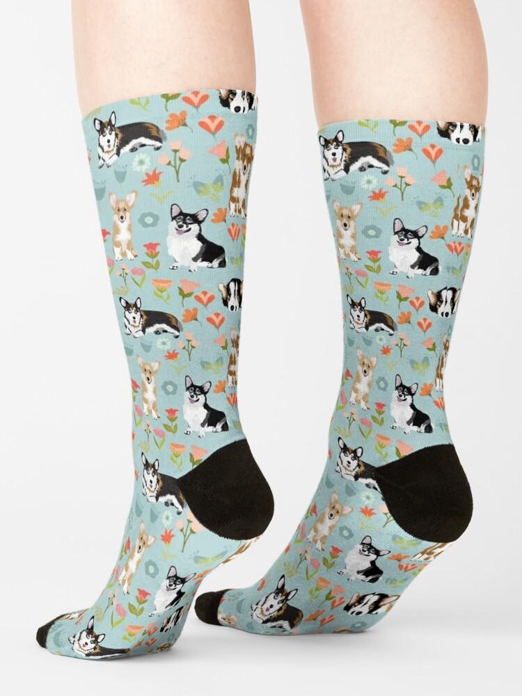 Alternate view of Cute Summer Corgi Flower Pattern Socks