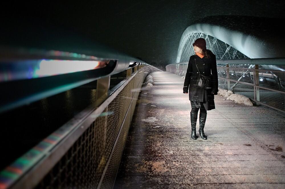 woman on the bridge by Przemek Szuba