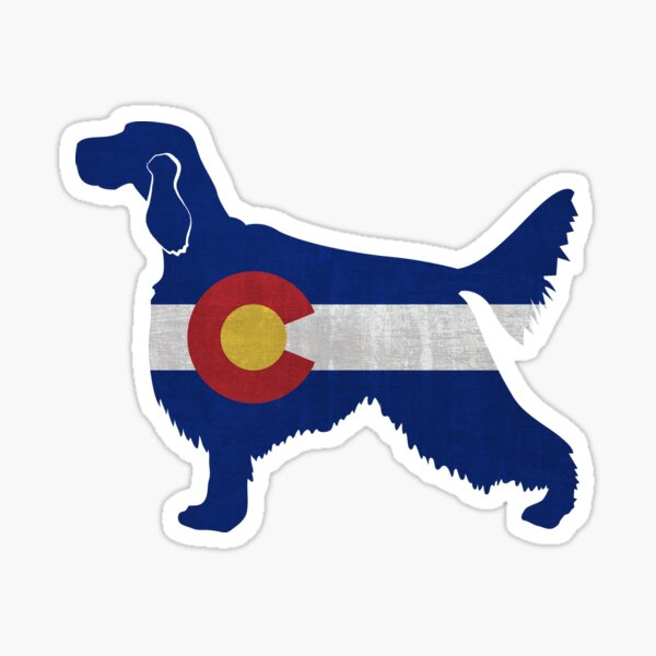 English Setter Dog Breed Silhouette Filled with Colorado Flag Sticker