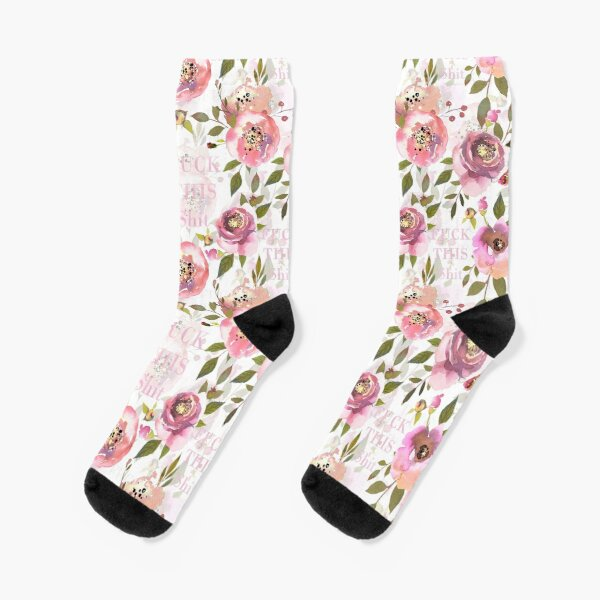 Fuck this shit - pink floral  Socks