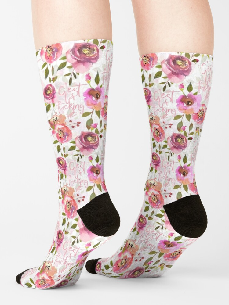 Alternate view of Cest la fucking vie pink floral  Socks