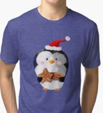 Cute Christmas Penguin Tri-blend T-Shirt