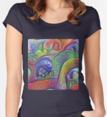 #DeepDream abstraction Fitted Scoop T-Shirt