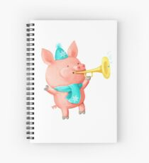 Cheering Cute Pig for Christmas Cahier à spirale