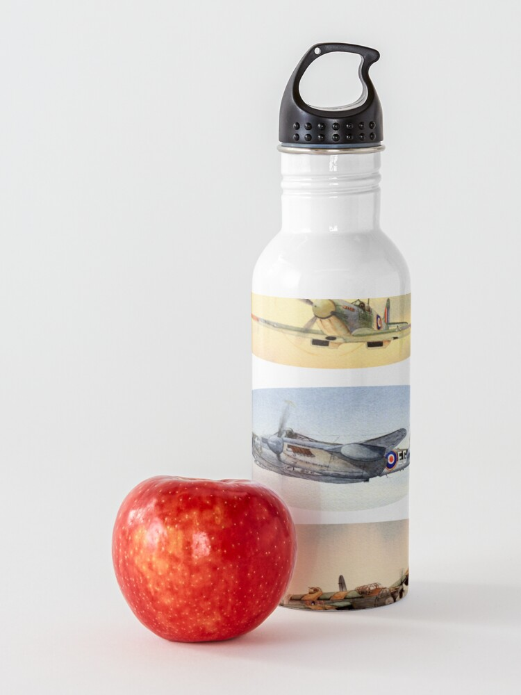 Alternate view of Spitfire Mosquito Lancaster Collage Water Bottle